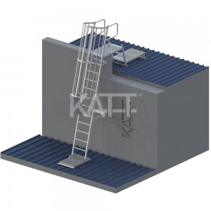 LD32 KATT Angled Cage Ladder for roof access