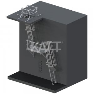 LD35 KATT Angled Cage Ladder for roof access