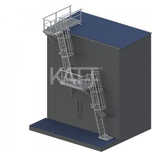 LD36 KATT Angled Cage Ladder for roof top access