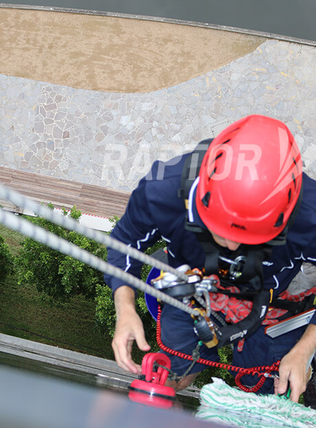 Rope access image showing Raptor rigid rail by Sayfa