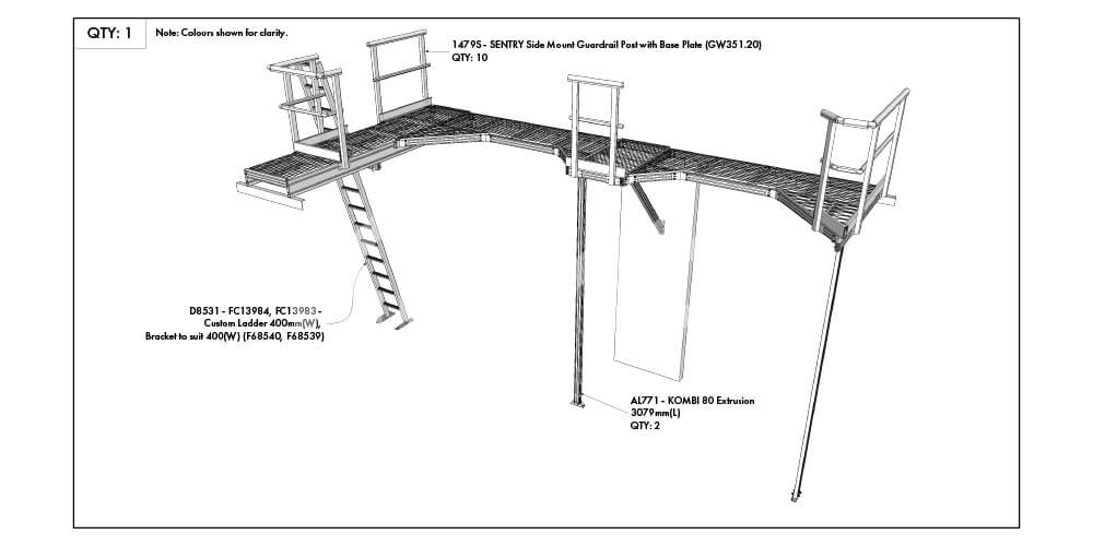 Kombi modular stair and platforms drawing