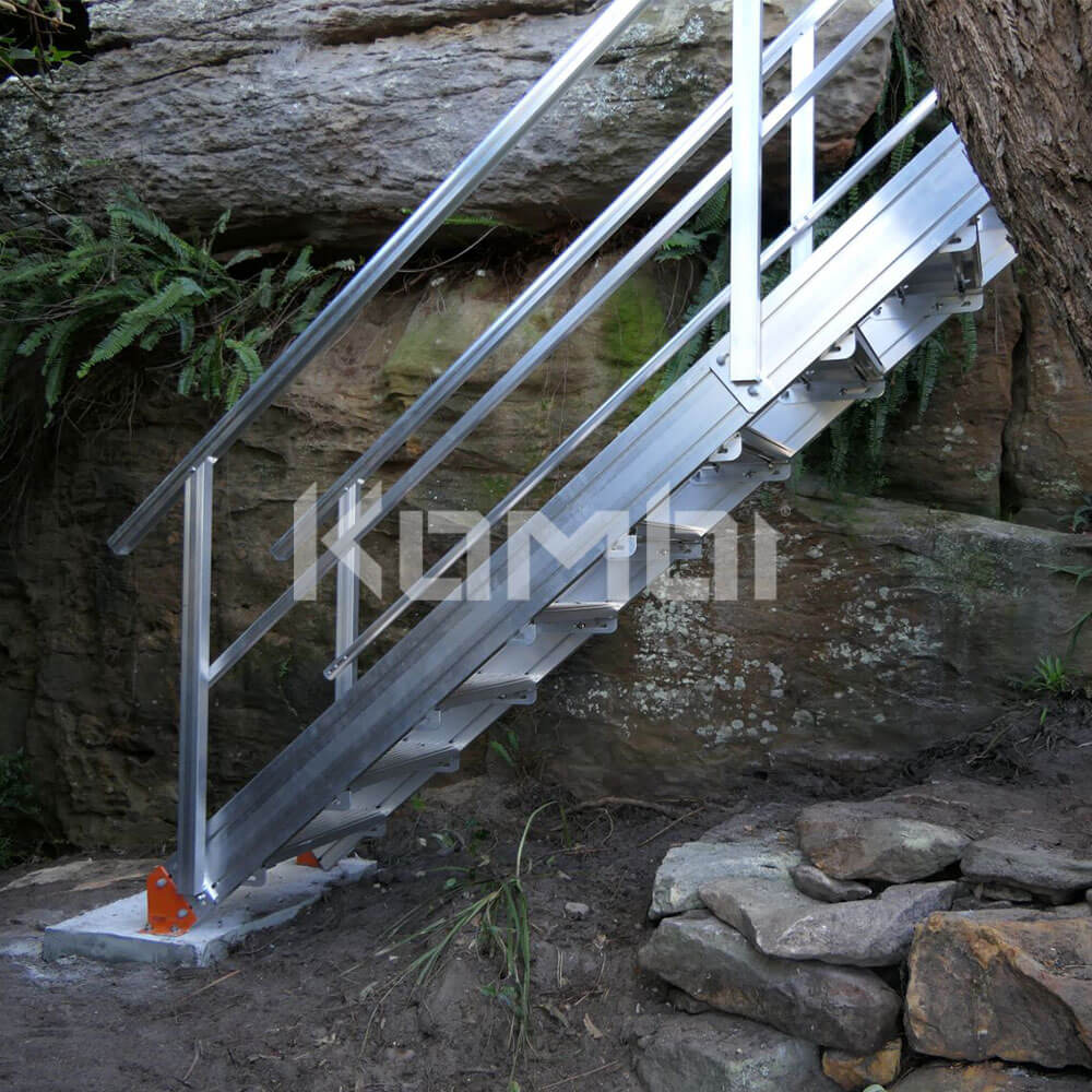 Kombi modular stair and platform systems install down side of cliff