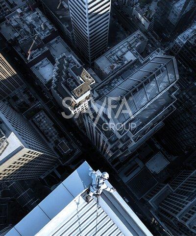 Fall arrest image featuring Raptor rigid rail by Sayfa