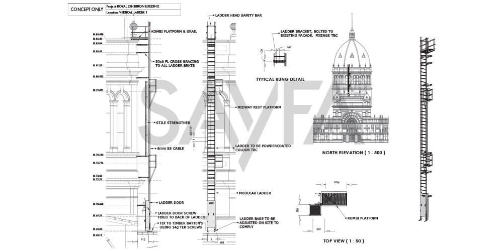 Exhibition Buildings - walkway, guardrail, stairs, platforms, ladders install