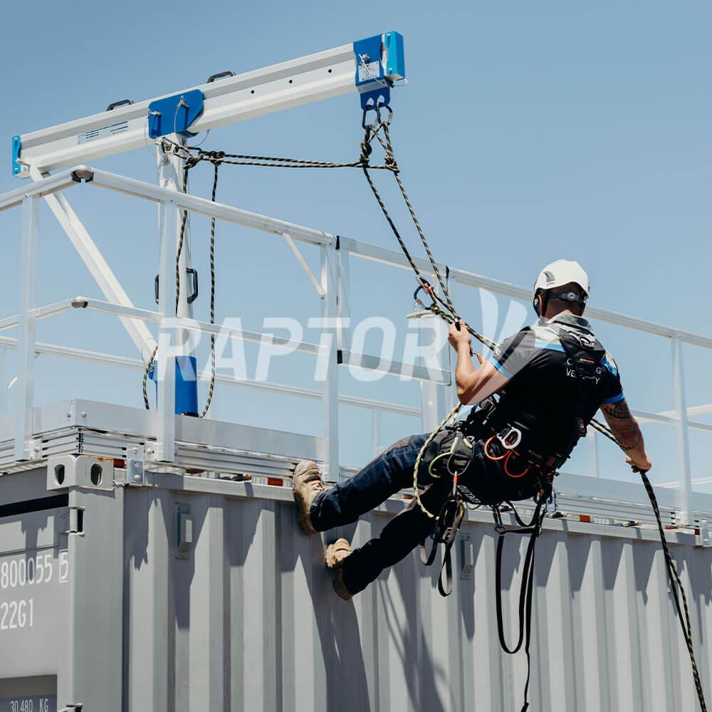Raptor davits in action performing facade maintenance