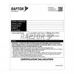 Raptor Davit Base Certification Label for use with Raptor Rope Access Davits