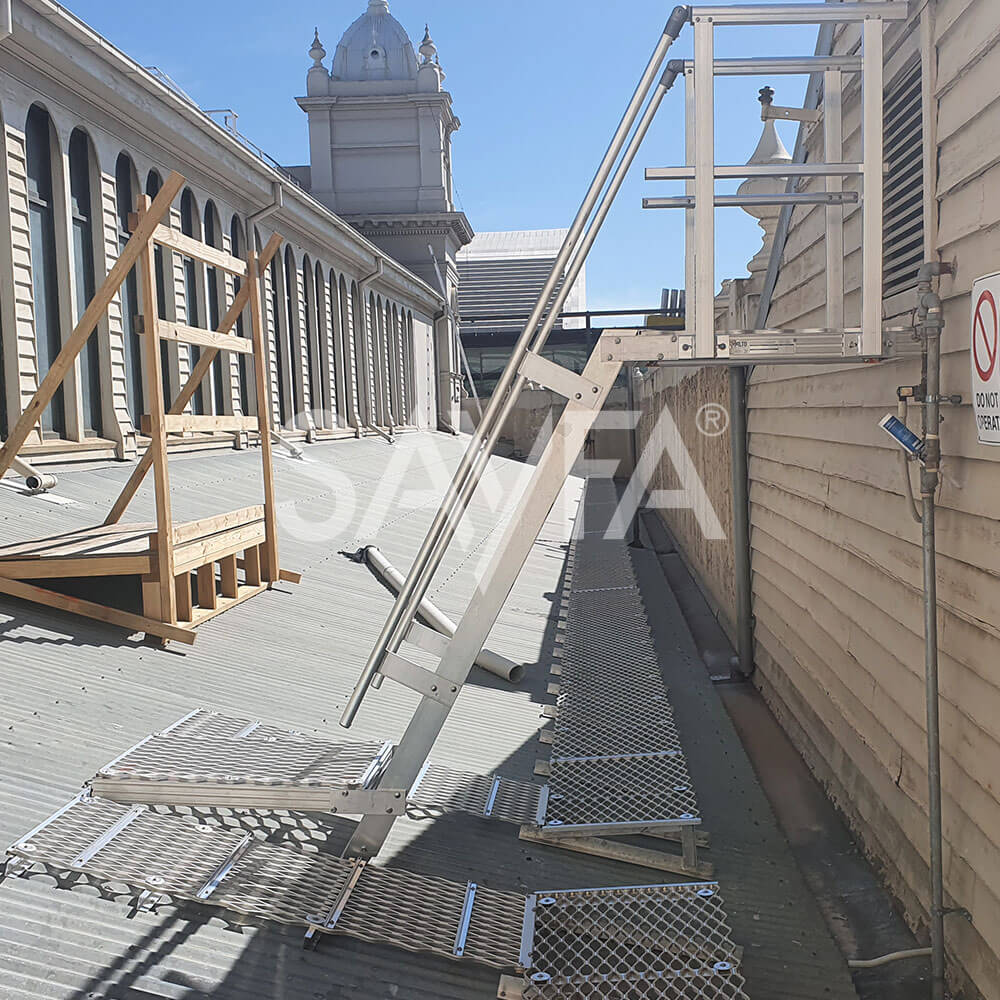 Royal Exhibition Building platforms, stairs, ladders, guardrail, walkway install