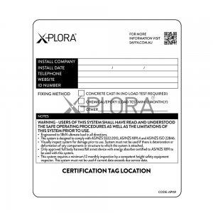 AP159 XPLORA Mega Post Certification Label for raised fall arrest or rope access